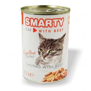 SMARTY Cat konzerva chunks Hovězí 410g