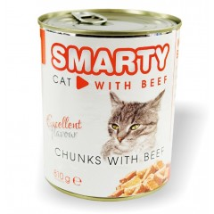 SMARTY Cat konzerva chunks Hovězí 810g
