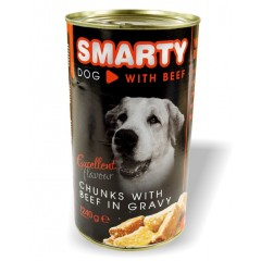 SMARTY Dog konzerva chunks Hovězí 1240g