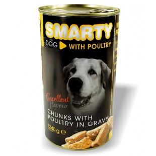 SMARTY Dog konzerva chunks Drůbeží 1240g