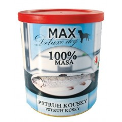MAX Dog konzerva deluxe Pstruh kousky 800g