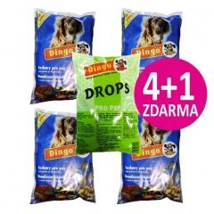 Dingo Akce 4x Suchary 500g + Zdrama 1x Drops 500g