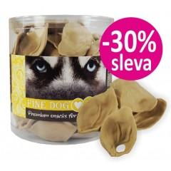FINE DOG Jerky ucho KALCIOVÉ s mlékem 6cm / 75ks - dóza