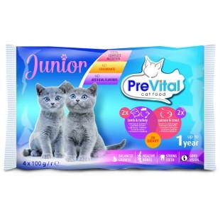 PreVital Cat KAPSA Junior MULTIPACK jehně+krůta, losos+pstruh 4x100g