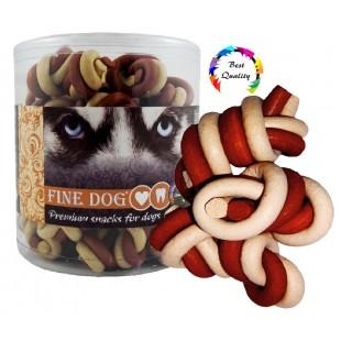 FINE DOG Jerky uzel vanilka+kuřecí 25ks - DÓZA