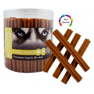 FINE DOG Jerky kříž slanina 12,5cm 50ks - DÓZA