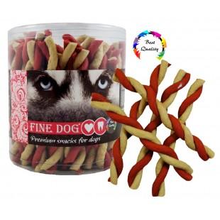 FINE DOG Jerky kroucená vanilka+hovězí 50ks - DÓZA