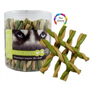 FINE DOG Jerky kroucená vanilka+mint 50ks - DÓZA