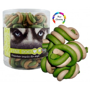 FINE DOG Jerky uzel vanilka+mint 25ks - DÓZA