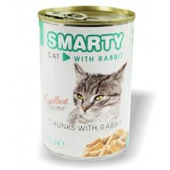 SMARTY Cat konzerva chunks Králík 410g