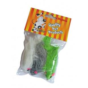 Chlupatá myš pro kočky velká 7,5cm / 3ks - HRAČKA