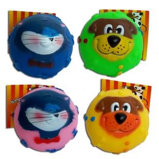 Gumový míček s obličejem MIX 7,5cm - HRAČKA