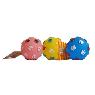 Hračka pro psy gumový míček s tlapkou 7,5cm - HRAČKA