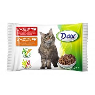 Dax KAPSA pro kočku 2x hovězí + 2x drůbeží 4x100g