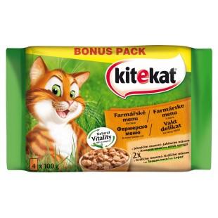 KITEKAT KAPSY pro kočky Farmářské menu ve šťávě MULTIPACK 4x100g