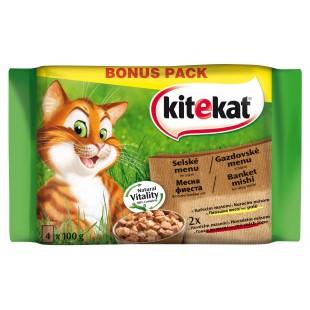 KITEKAT KAPSY pro kočky Selské menu ve šťávě MULTIPACK 4x100g