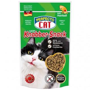 Perfecto Cat Lucky Knabber-Snack s Jehněčím a brusinkami - Anti-Hairball 50g
