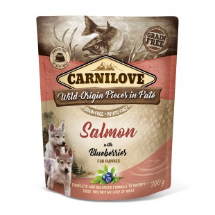 Carnilove Dog Pouch Paté Salmon with Blueberries for Puppies 300g - KAPSA