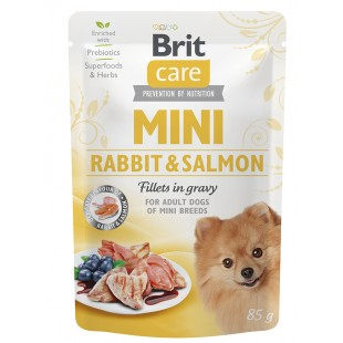 Brit Care MINI Dog Rabbit & Salmon fillets in gravy 85g - KAPSA
