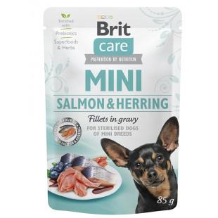 Brit Care MINI Dog Salmon & Herring sterillised fillets in gravy 85g - KAPSA