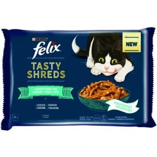 FELIX Tasty Shreds kapsičky MULTIPACK Losos a Tuňák ve šťávě 4 x 80g
