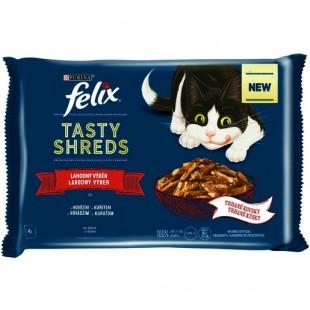 FELIX Tasty Shreds kapsičky MULTIPACK Hovězí a Kuře ve šťávě 4 x 80g