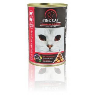 FINE CAT Konzerva pro kočky DUO Hovězí s Krůtím 415g